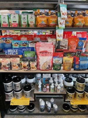 pet products on store shelves