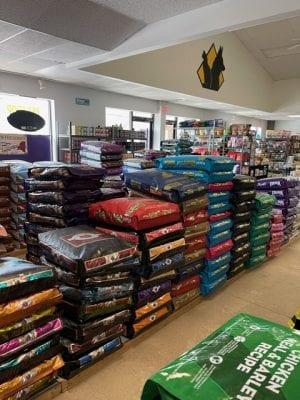 stacks of dry pet food bags