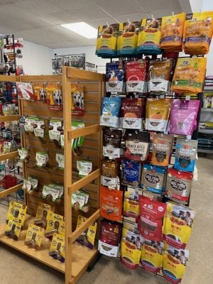 pet treats hanging on a store fixture